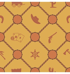 Seamless background with cowboys and wild west vector