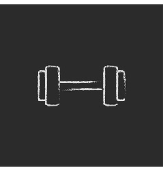 Dumbbell icon drawn in chalk vector