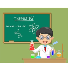 Cartoon scientist boy in lab coat with chemical vector