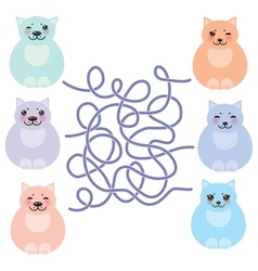 set sitting funny fat cats pastel colors on white vector image