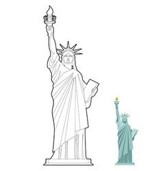 Statue of liberty coloring book symbol of freedom vector