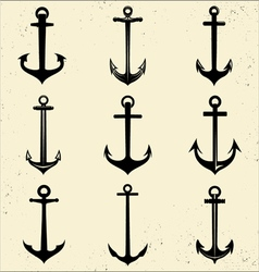 Anchor Silhouette Set vector image vector image