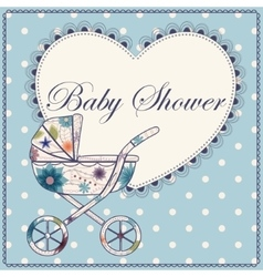 Baby shower with heart and baby carriage blue vector image