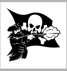 Brave pirate with pistol vector