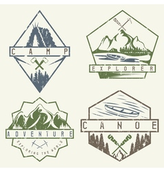 Canoe camping and adventure vintage grunge labels vector