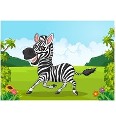 Cartoon adorable zebra vector image vector image