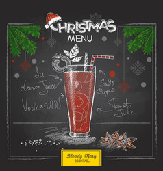 Chalk drawing christmas menu cocktail design vector