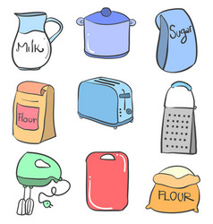 collection stock kitchen set colorful doodles vector image