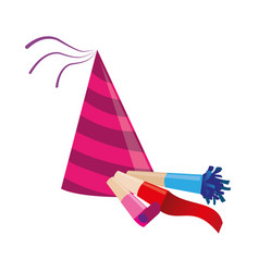 Color silhouette with party hat and party blower vector