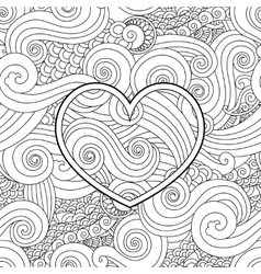 Coloring page with heart and asian wave curl vector image vector image