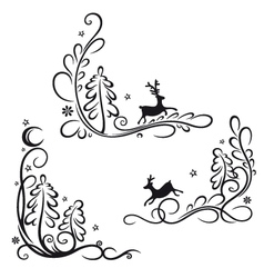 Deer and trees vector