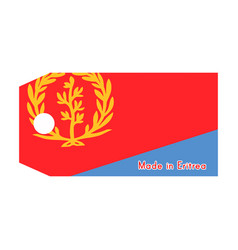 eritrea flag on price tag with word made in vector image vector image