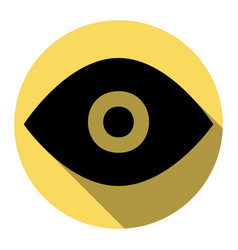 eye sign flat black icon vector image vector image