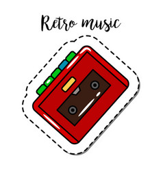 Fashion patch element retro cassette player vector