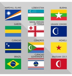 Flags of world flat Set number 11 vector image vector image