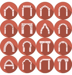 Flat icons collection of arch silhouette vector image vector image