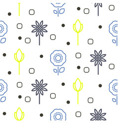 Geometric flower seamless line pattern vector