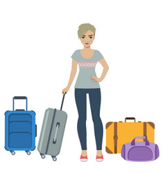 Girl tourist with baggage vector