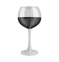 Glass of red wine icon in monochrome style vector image
