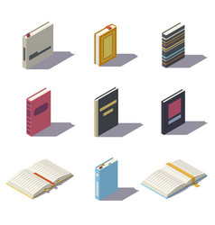 Isometric low poly books vector