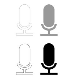 microphone the black and grey color set icon vector image