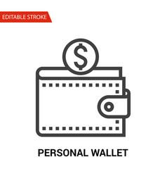 personal wallet icon thin line vector image vector image