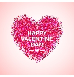 Pink glitter valentine day heart shape vector