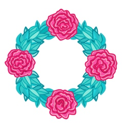 Round wreath frame with pink roses and leaves vector image