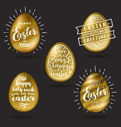 Set of golden eggs with Easter greetings vector image vector image