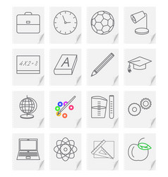 Set of sixteen images - icons for a school vector