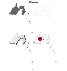 Shizuoka blank outline map set vector