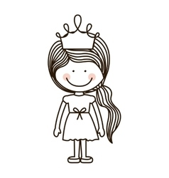 Silhouette girl standing with crown and ponytail vector