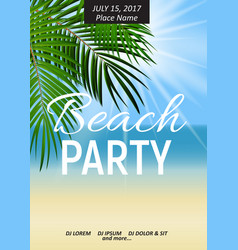 Summer night beach party poster tropical natural vector