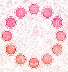 Watercolor zodiac signs set vector
