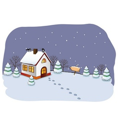 Winter cottage vector