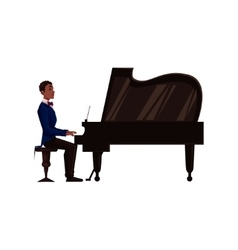 Young african american man playing grand piano vector