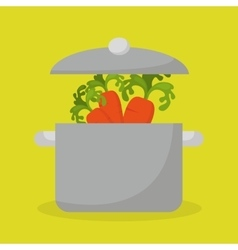 Kitchen pot with vegetable food vector