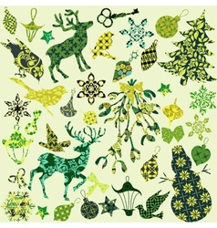 Set of christmas silhouettes of patches for scrap vector
