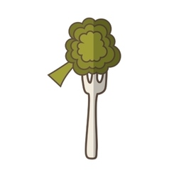 fork with broccoli fresh vegetable isolated icon vector image