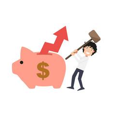 man try to break piggy bank vector image