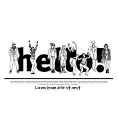 Hello team group people isolate sign black and vector