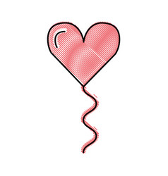decorative party balloon with heart shape vector image