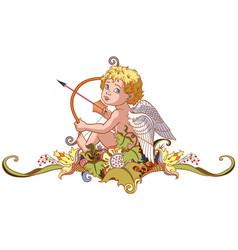 Cupid holding a bow with arrow vector