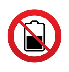 No battery half level sign icon low electricity vector