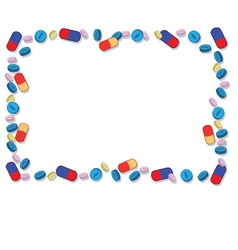 Coloured pills frame vector
