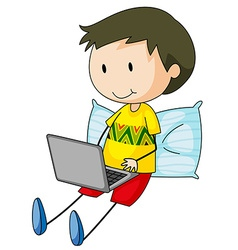 Kid and computer vector