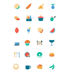 Food and drinks colored icons 13 vector