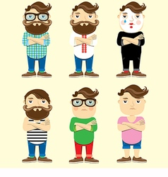 Fashionable men set vector