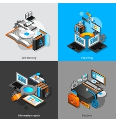E-learning isometric set vector