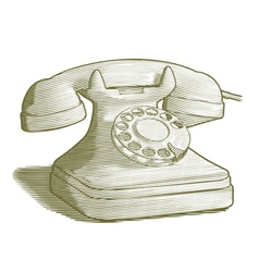 Engraved retro phone vector